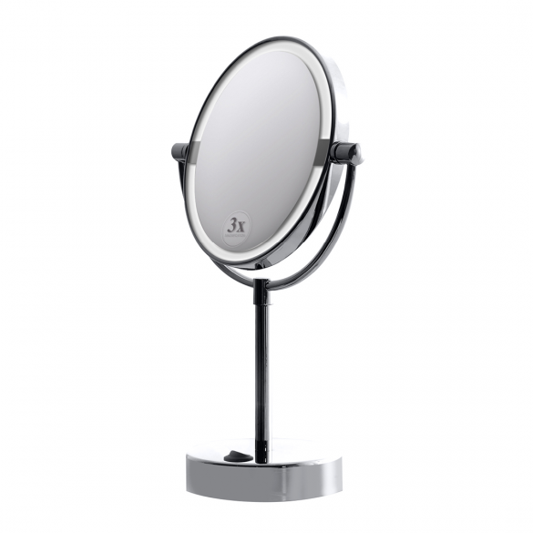 Cosmetic mirror with LED light free standing